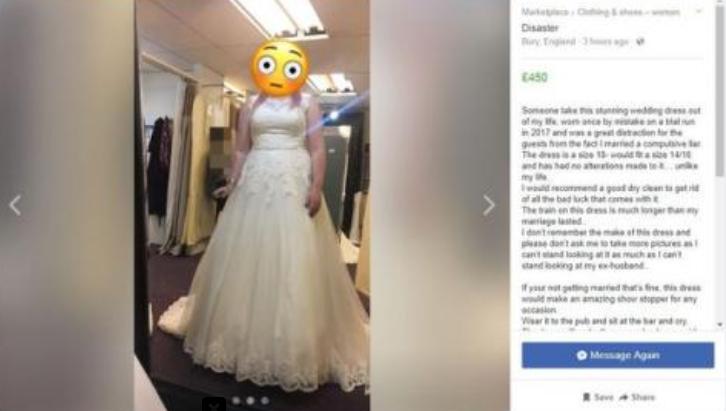 mujer vende su vestido de novia para pagar divorcio