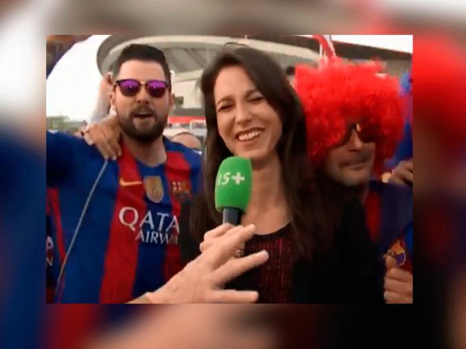 La increíble reacción de una periodista al ser acosada por hinchas del Barcelona