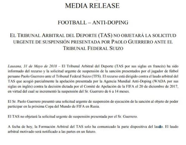 Paolo Guerrero sí va al Mundial Rusia 2018, informó el TAS