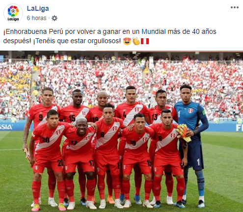 LaLiga de España felicitó a la Selección Peruana por su triunfo en el Mundial Rusia 2018