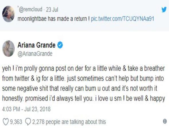 Ariana Grande cierra por tiempo indefinido sus cuentas de Instagram y Twitter