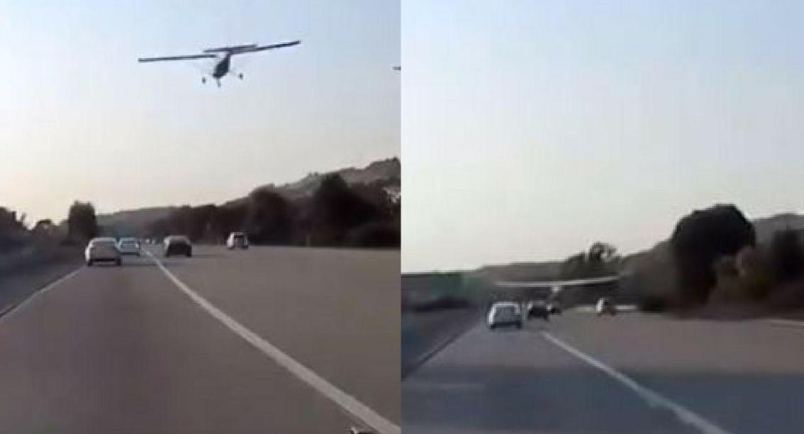 Avioneta aterriza de emergencia y con gran destreza sin rozar ni un vehículo