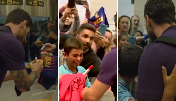 Niño se emocionó hasta las lágrimas al conocer a Lionel Messi