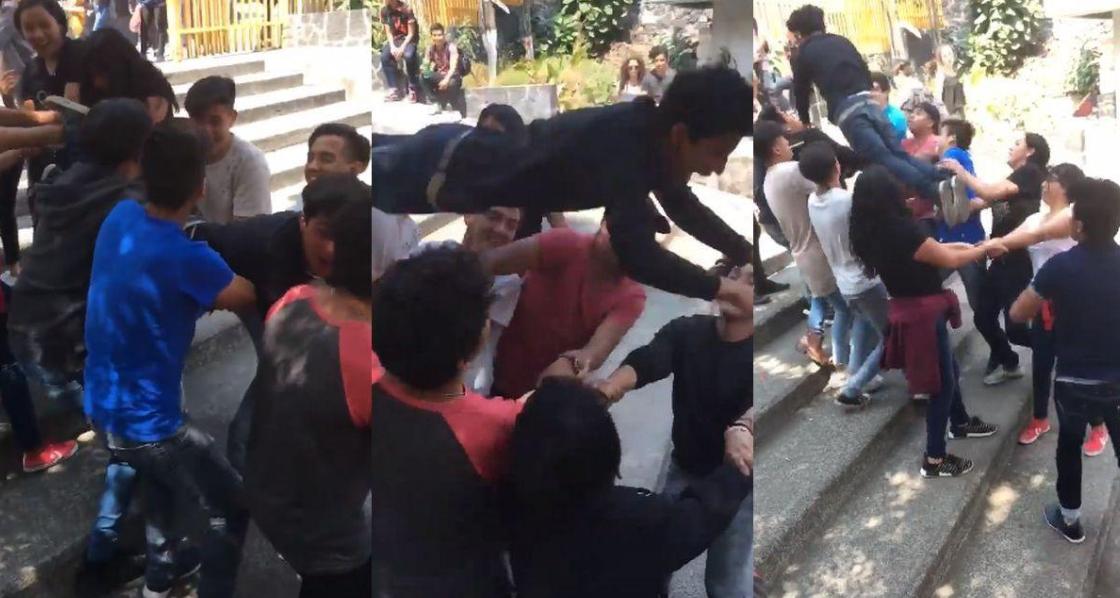 Escolares realizan peculiar juego en hora del recreo y se roba la atención de cibernautas