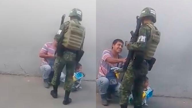 Soldado conmueve a muchos con noble gesto hacia un niño
