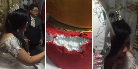 Novia corta su pastel de bodas y descubre que estaba hecho de 'tecnopor'