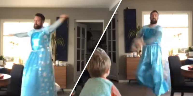 Papá e hijo se disfrazaron de Elsa de 'Frozen' y causaron revuelo en la red