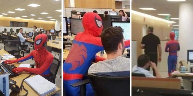Renunció a su trabajo y aprovecho su último día disfrazándose de Spider-Man
