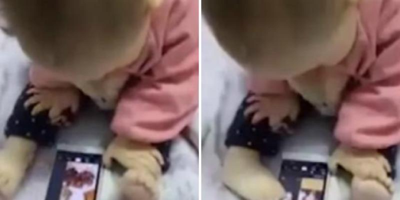 Bebé sorprende a cibernautas al manejar un celular con sus pies