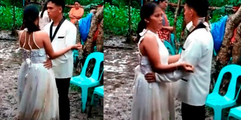 Tifón arruina la boda de unos jóvenes y ellos continúan bailando