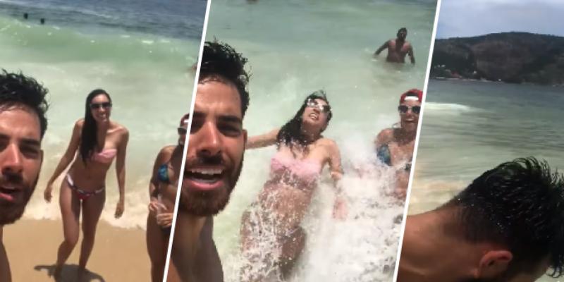 Amigos quisieron grabar un vídeo en la playa, pero fueron tumbados por una ola