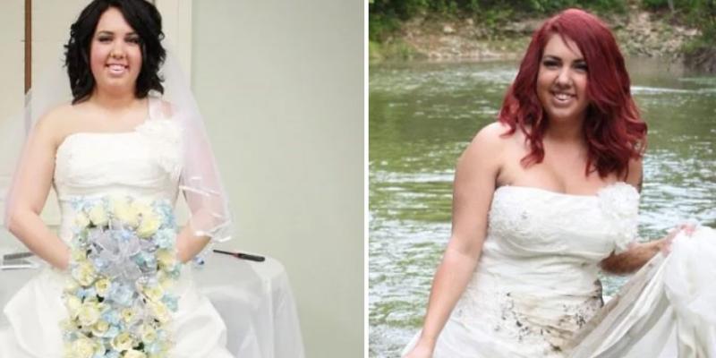 Se divorció de su pareja y lo celebró cortando su vestido de novia de 1500 dólares