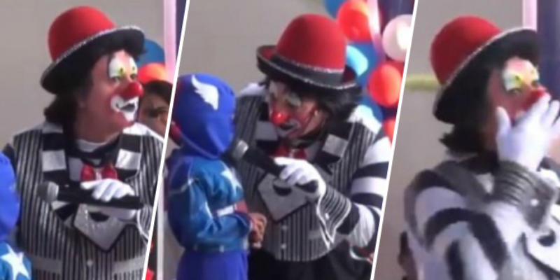 Payaso pasa vergüenza al recibir ingeniosa respuesta de niño en fiesta infantil