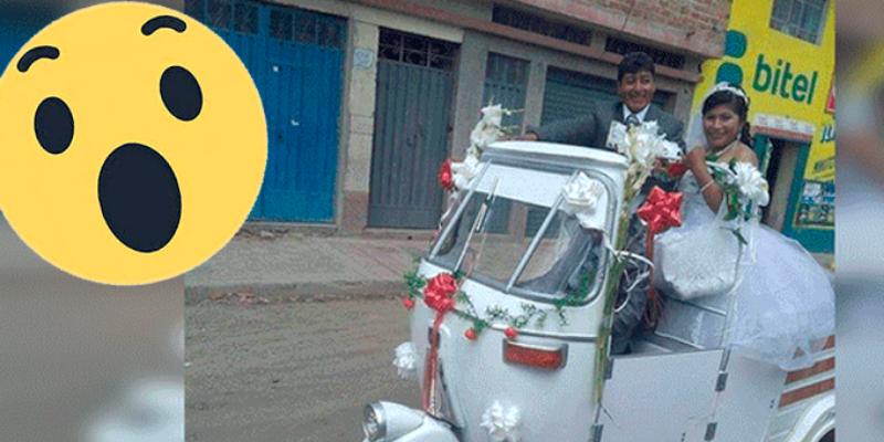 Peruano que se casó con su novia y la paseó en mototaxi de 'lujo'
