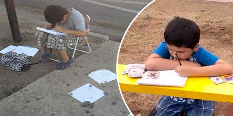 Niño vendía sus dibujos para comprar útiles escolares, pero su mamá lo desmiente