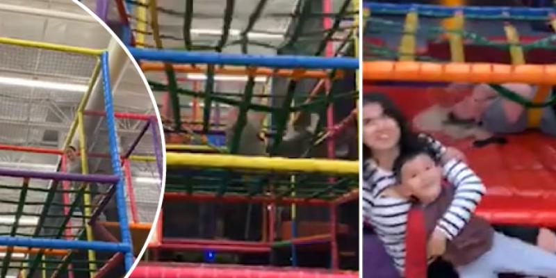 Mujer ingresa a juegos para niños, pero tuvo doloroso final