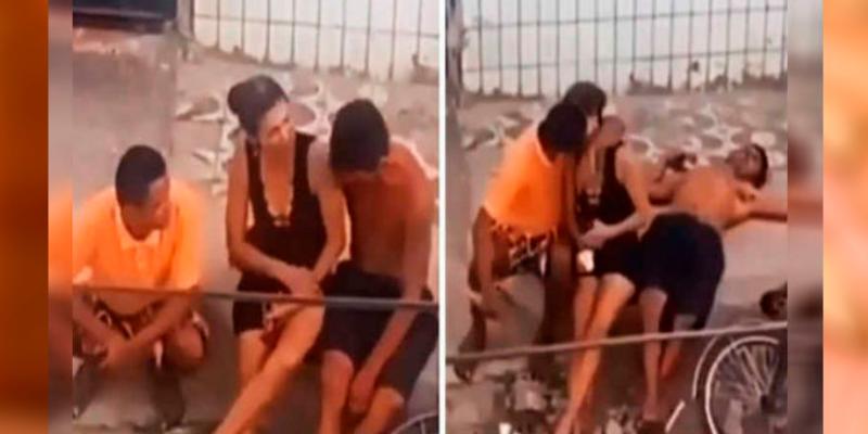 Mujer aprovecha que su esposo duerme para robarle un beso a su amante