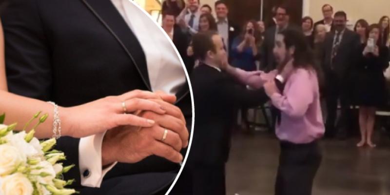 Novio y el ex de su esposa se pelean en pleno matrimonio solo para tenerlo de recuerdo