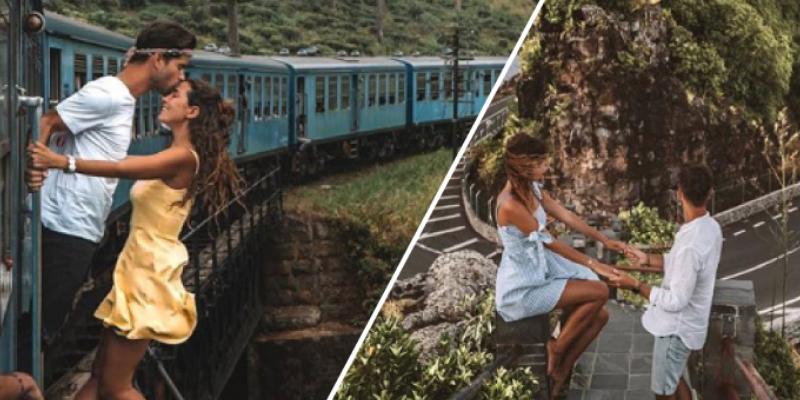 Pareja realizan arriesgada pose en un tren en movimiento