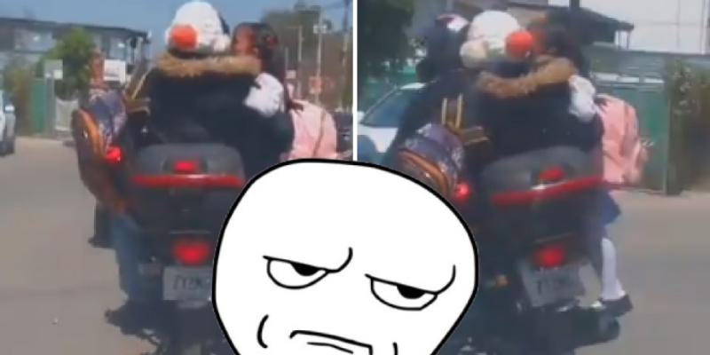 Padres son criticados por llevar a su hija en el tubo de escape de motocicleta