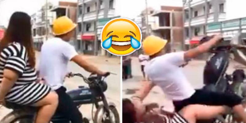 Hombre busca pasear a su novia en su moto lineal pero todo termina mal