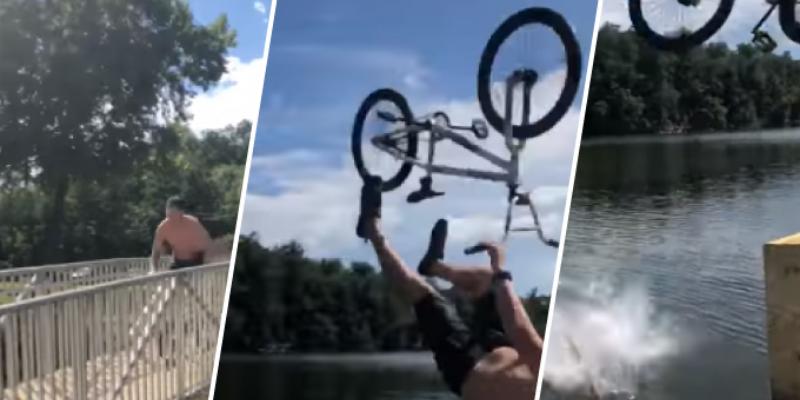 Joven intenta realizar pirueta en bicicleta, pero por poco termina en tragedia