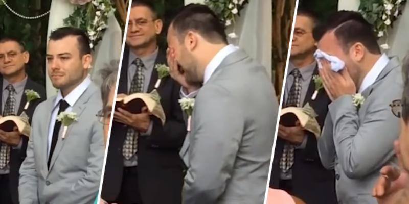 Novio rompe en llanto al ver a su pareja llegar al altar y cibernautas quedan conmovidos