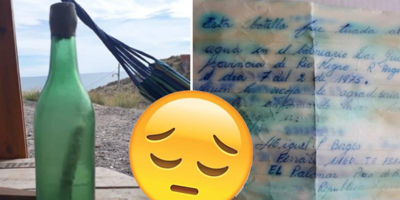 Encontró botella en el mar con una carta dentro, buscó al dueño y se llevó lamentable noticia