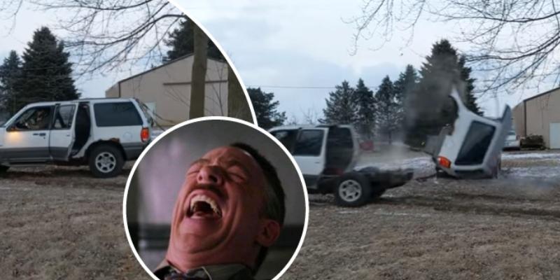 Hombre intenta retirar dos árboles con una camioneta y ocurre lo peor