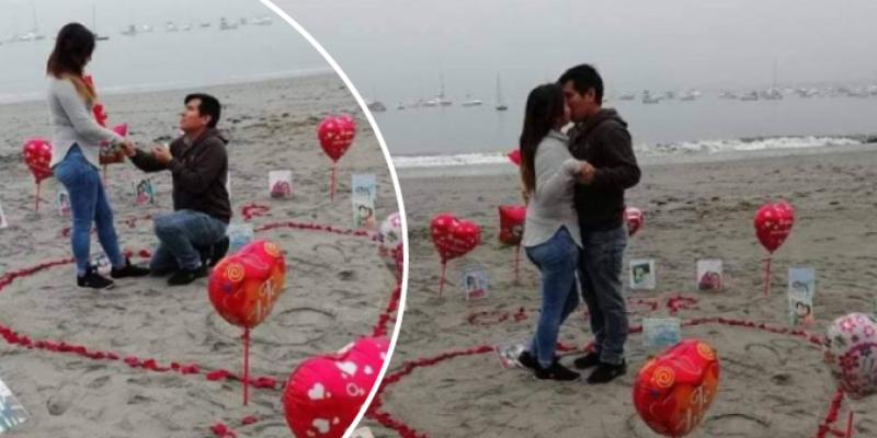Joven le pide matrimonio a su pareja frente al mar y cibernautas se emocionan