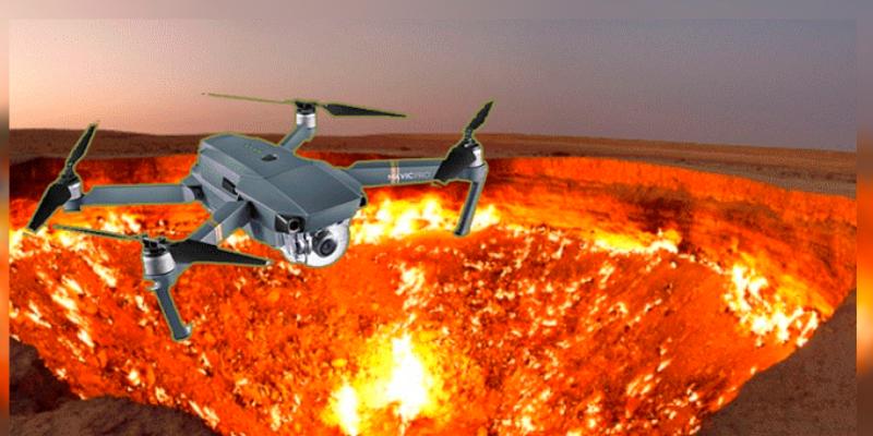 Dron sobrevuela por enorme cráter y causa furor sus impactantes imágenes