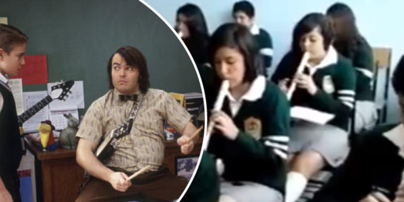 Profesor y alumnos tocan canción de Nirvana con flauta y cibernautas lo comparan con 'Escuela de Rock'