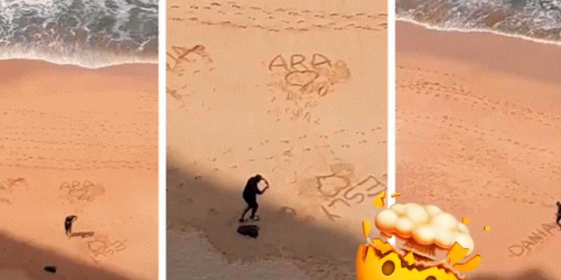 Joven infiel es captado en la playa escribiendo mensajes para todas sus novias pero solo una era 'la especial'