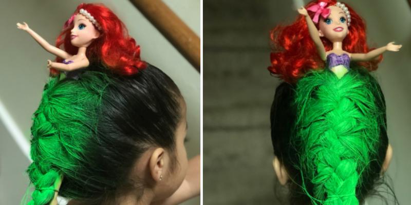 Niña lució un peinado de la Sirenita y ganó premio al 'Día del cabello loco'