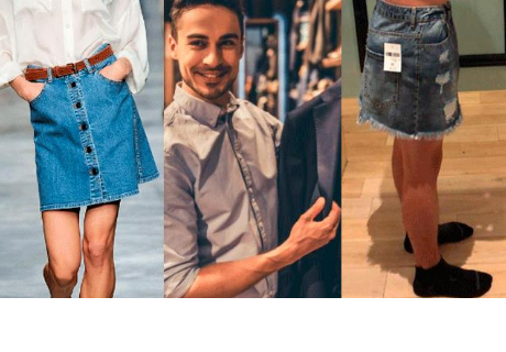 Novio se prueba falda para ayudarle a su pareja en la compra