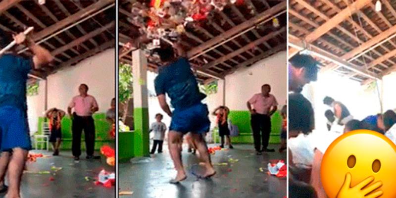 Joven sorprende con táctica para coger todos los dulces de la piñata