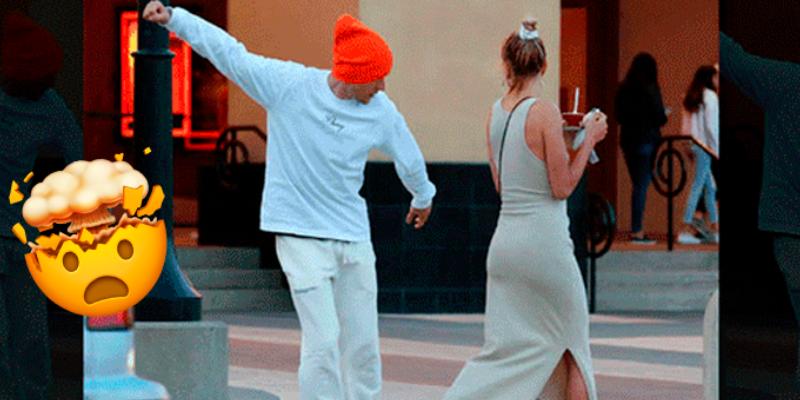 Justin Bieber realiza 'inusuales' juegos en la calle y la reacción de su esposa saco muchas risas
