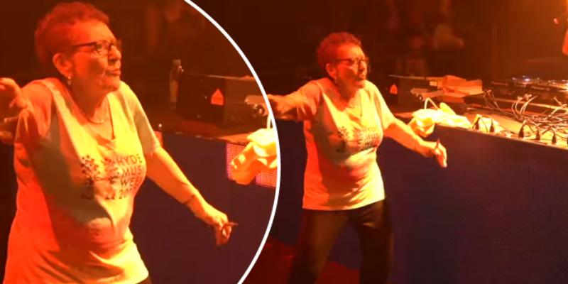 Abuelita acude a concierto de electrónica y demostró su talento en baile