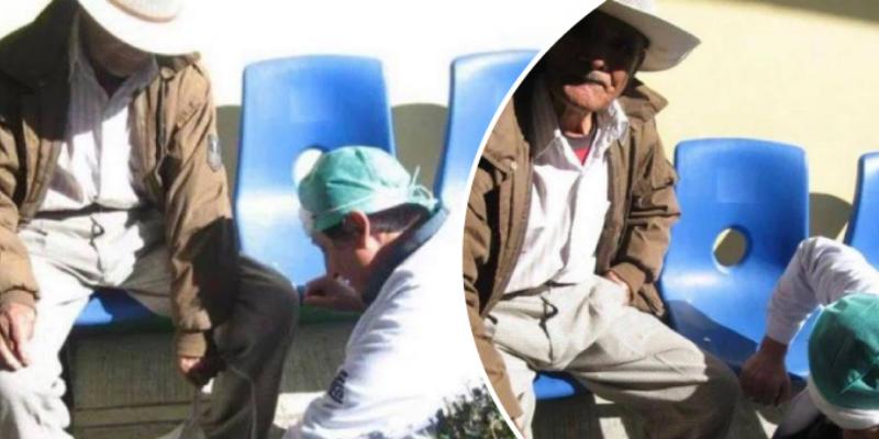 Abuelito llegó a un hospital para que atiendan a su mascota y se emocionó hasta las lágrimas