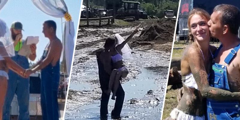 Pareja se casó sobre una camioneta y lo celebró lanzándose un poco de lodo