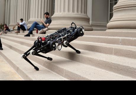 Un perro robot muestra su increíble equilibrio con varios ejercicios a ciegas