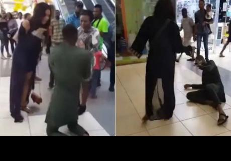 Le pide matrimonio en público y ella le da una golpiza en vez de darle el sí