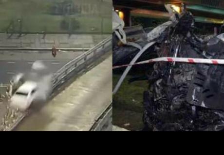 Auto a 170 km/h sale 'volando' de autopista y el chófer sobrevive de milagro