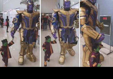 Padre hace feliz a su hija con el mejor cosplay de Thanos