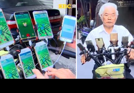 Pokémon GO: anciano de 70 años juega con 11 smartphones en su bici