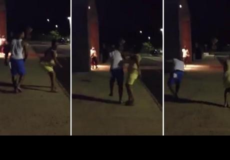 Mujer le da una cachetada en 360° a hombre que la empujó en la calle