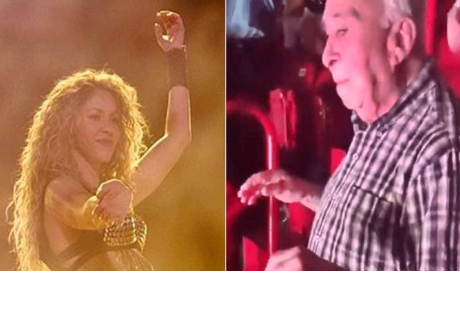 Abuelito sorprende a Shakira bailando 'Hips Don't Lie' en su concierto