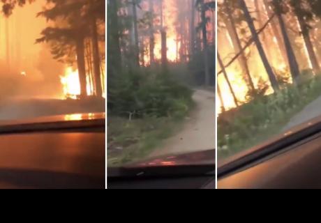 Padre e hijo pasan 'momento de terror' para escapar de incendio forestal