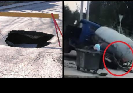 Un camión es 'tragado' por la tierra segundos después de salir de él su conductor