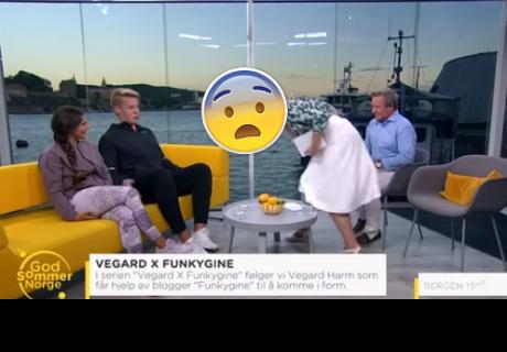Presentadora vomita sobre un invitado durante una transmisión en vivo